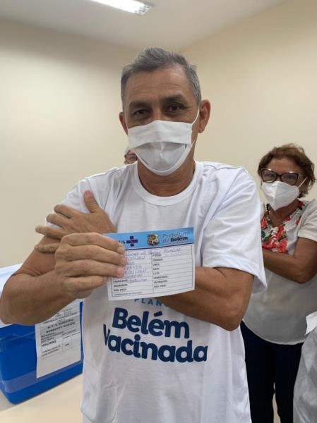 Aldenor Ferreira, primeiro vacinado no PSM do Guamá
