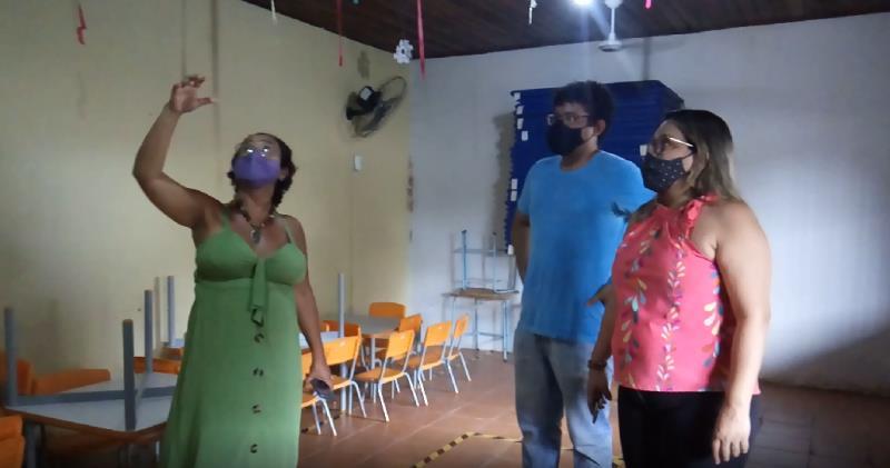 EMEI Revoar das Andorinhas  foi uma das escolas municipais a receber a equipe da Semec