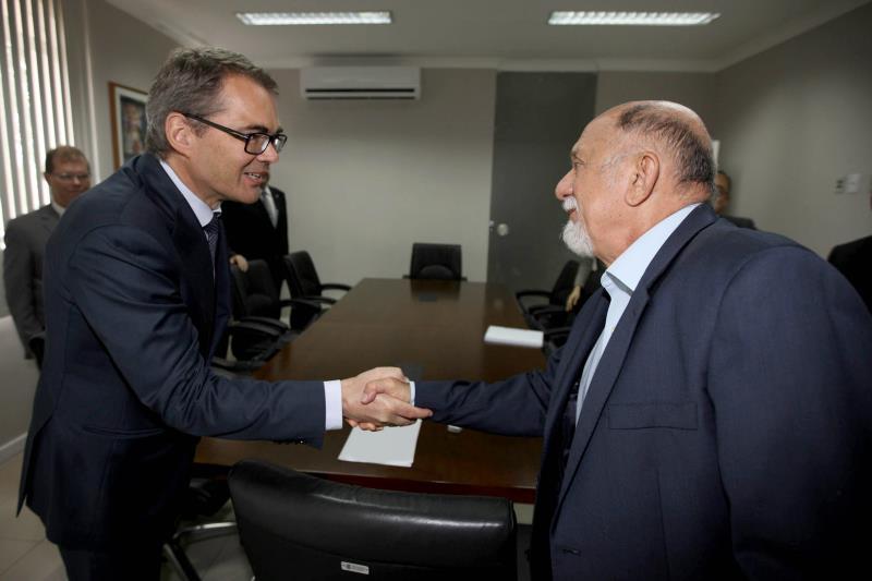 O presidente e CEO da Hydro, Svein Brandtzaeg, reuniu-se com o governador Simão Jatene no Palácio do Governo: diálogo abre novas oportunidades