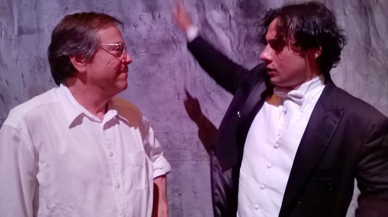 O cineasta paulista Fernando Meirelles, diretor cênico da ópera, e o maestro Miguel Campos Neto, titular da Orquestra Sinfônica do Theatro da Paz (OSTP)